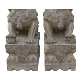 Chinese Pair Distressed Brown Gray Stone Fengshui Foo Dogs Statues cs4697S