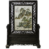 Chinese Wood Frame Porcelain Plaque Table Top Screen Display cs4705S