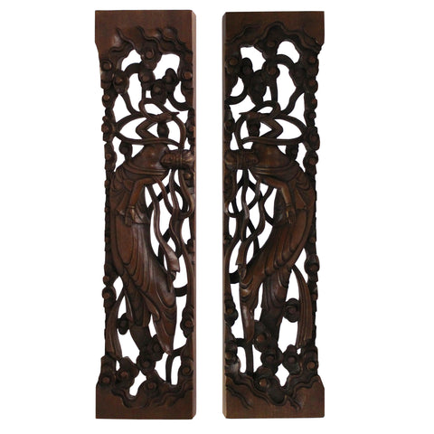 Chinese Pair Natural Wood Relief Carving Rectangular Paperweights cs4707S