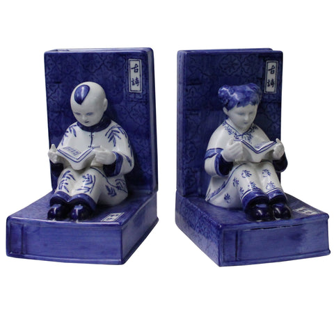 Porcelain Blue & White Color Kid Reading Book Figure Bookend Stopper