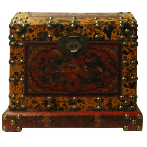 Chinese Distressed Yellow Red Dragon Graphic Trunk Box Chest cs4721S