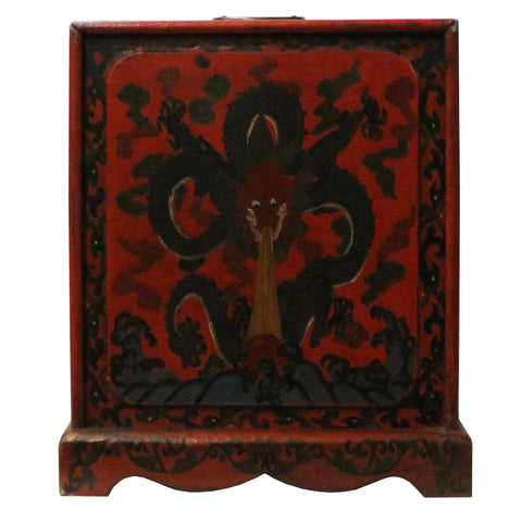 Chinese Distressed Red Black Dragon Graphic Trunk Box Chest cs4722S