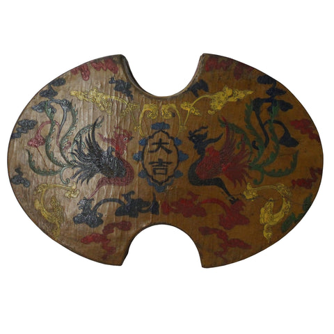 Chinese Distressed Yellow Lacquer Oval Phoenix Graphic Box cs4724S