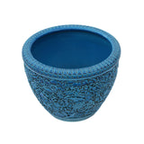 Chinese Ceramic Blossom Flowers Relief Motif Bright Blue Color Pot Planter cs4729S