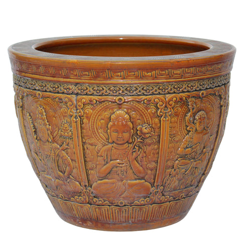 Chinese Ceramic Buddhas Relief Motif Yellow Brown Color Pot Planter cs4732S