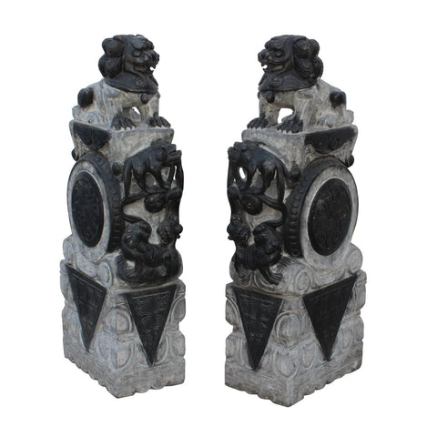 pair natural stone carved feng shui foo dog