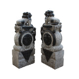 pair natural stone carved feng shui foo dog in drum base