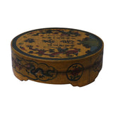 Chinese Distressed Yellow Characters Graphic Round Shape Box cs4747S