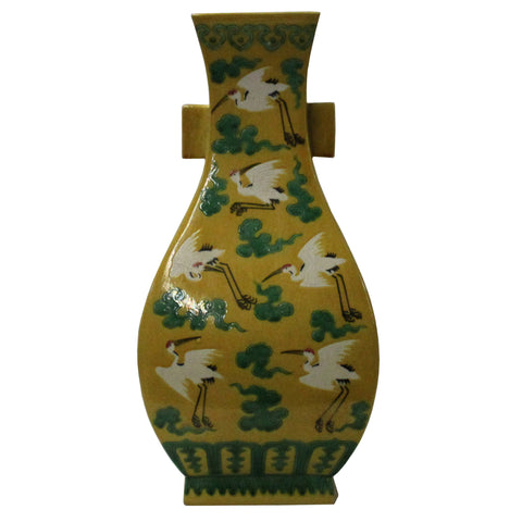 Chinese Distressed Yellow Base White Crane Paint Graphic Porcelain Vase cs4760S