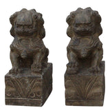 pair stone feng shui foo dog statue