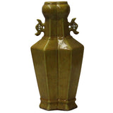 Asian Ceramic Distressed Yellow Coin Motif Vase