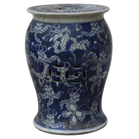 flower and vase blue and white clay stool