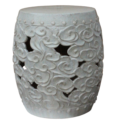 Ceramic Clay Off White Glaze Round Scroll Pattern Garden Stool cs4784S