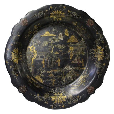Chinese Hand Painted Golden Graphic Black Lacquer Display Disc Plate cs4785S