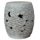Chinese cream white ceramic round stool