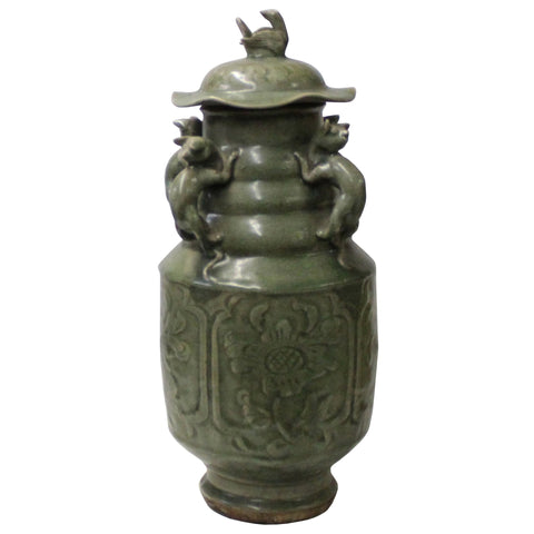 Chinese Ancient style Green Gray Ceremonial Jar with Relief Dragon Motif cs4789S