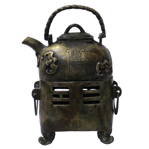 Metal Bronze Color Old Fashion Teapot Shape Display