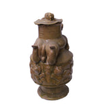 Yellow Brown Ceremonial Jar with Relief Monster Motif