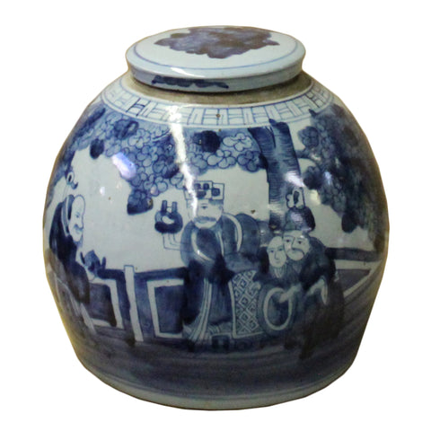blue white ginger jar