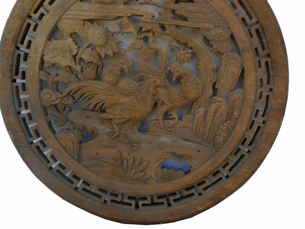 Chinese Vintage Wood Round 3 Roosters Wall Plaque Wall