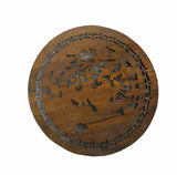 Asian round wood panel with Chicken