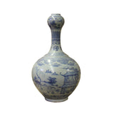 Chinese Blue Off White Porcelain Light Fade Scenery Graphic Vase