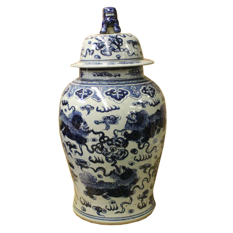 Chinese Large Blue & White Foo Dogs Porcelain General Temple Jar cs4813S