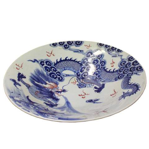 Chinese Blue White Dragon Painting Porcelain Charger Plate Bowl cs4820S
