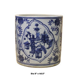 Chinese Blue & White Porcelain Floral Scenery Brush Holder Pot cs4827S