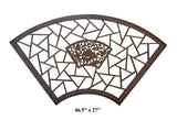 Chinese Handmade Fan Shape Lotus Flower Birds Theme Wood Wall Hanging Panel cs482S