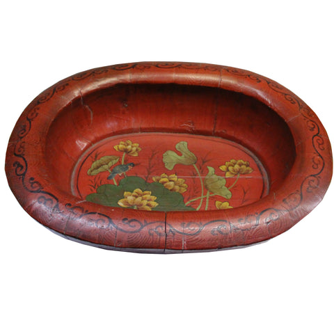 Chinese Vintage Distressed Red Flower Oval Shape Wood Bucket cs4839S