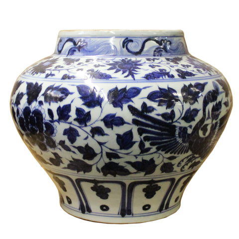 Blue White Porcelain Graphic Fat Body Vase Jar