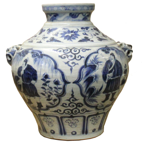 Chinese Blue White Porcelain People Scenery Fat Body Vase Jar