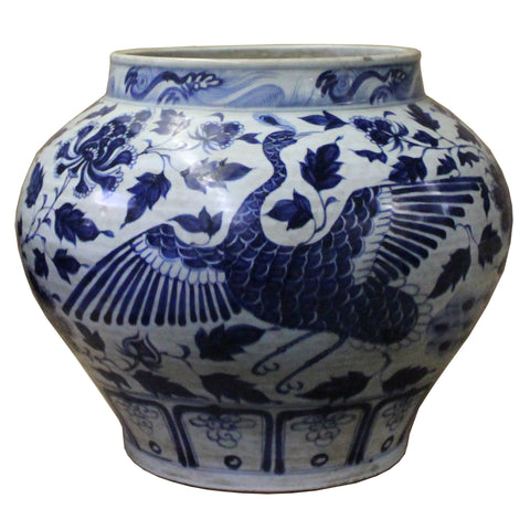 blue white crane painting planter vase