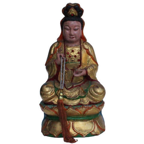 Vintage Chinese Wooden Carved Home Guardian God Heaven Figure