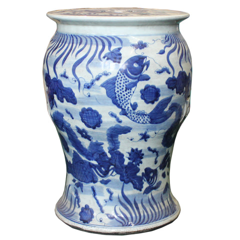 Chinese Distressed Blue & White Porcelain Round Fishes Stool