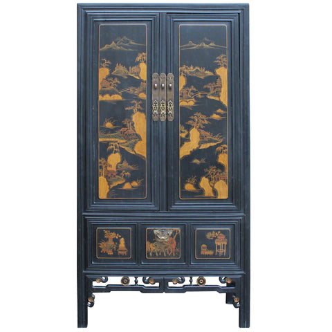 chinese cabinet - brown cabinet - oriental storage chest