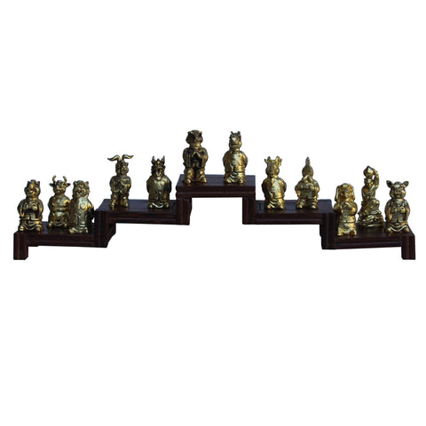 Set of 12 Chinese Animal Zodiac Metal Miniature Figures