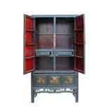 Chinese Black Fujian Golden Mountain Water Graphic Tall Armoire Cabinet cs4891S