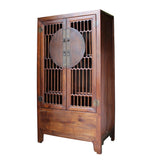Chinese Brown Open Panel Storage Tall Cabinet Bookcase cs4910S