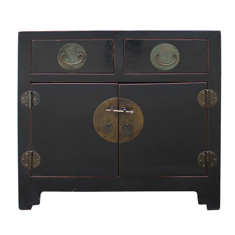 Chinese Side Table.Vintage Distressed Black Lacquer Oriental Chinese Side Table Cabinet