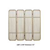 Fine Polish Raw Finish Bar Pattern Wood Panel Screen Room Divider cs4943S