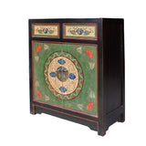 flower graphic - Chinese cabinet - vintage table