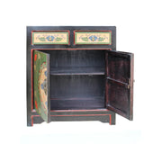 Chinese Distressed Green Floral Graphic Console Table Cabinet cs4964S