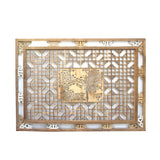 Chinese Rectangular Flower Birds Geometric Wood Wall Decor cs4970S