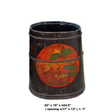 Distressed Chinese Tibetan Barrel Shape Black Floral Bucket Wood Container cs4971S