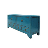 Chinese Distressed Blue Low TV Console Table Cabinet cs4976S