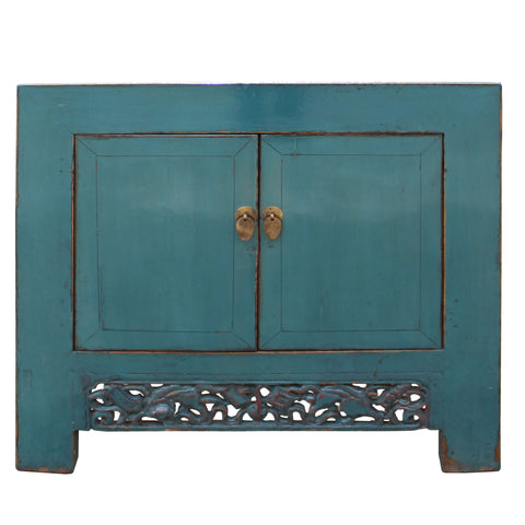 blue table - low cabinet - small chest