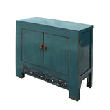 Chinese Distressed Rustic Teal Blue Foyer Console Table Cabinet cs4980S