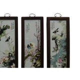 Chinese Color Porcelain Flower Birds Wood Wall Panels Set cs4984S